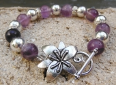 Amethyst and Silver Rounds Bracelet