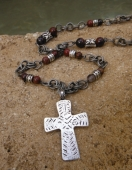 *Garnet Agate and Rustic Metals Neckgear