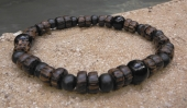 Petrified Wood and Onxy Braclelet