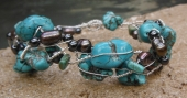 *Twisted Turquoise and Bronze Pearl Bracelet