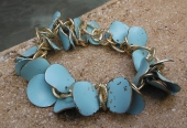 *Aqua and Gold Distressed Bracelet