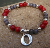 Scarlett and Gray Bracelet