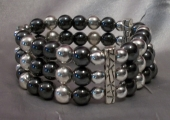 Hematite and Silver Strands Bracelet