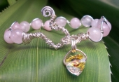 *Rose Quartz and Crystal Wave Bracelet