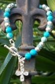 *Turquoise  and Crystal Cross Bracelet