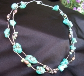*Twisted Turquoise and Bronze Pearl Necklace
