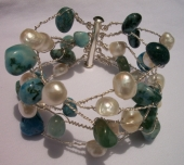 *Twisted Turquiose and Pearl Bracelet